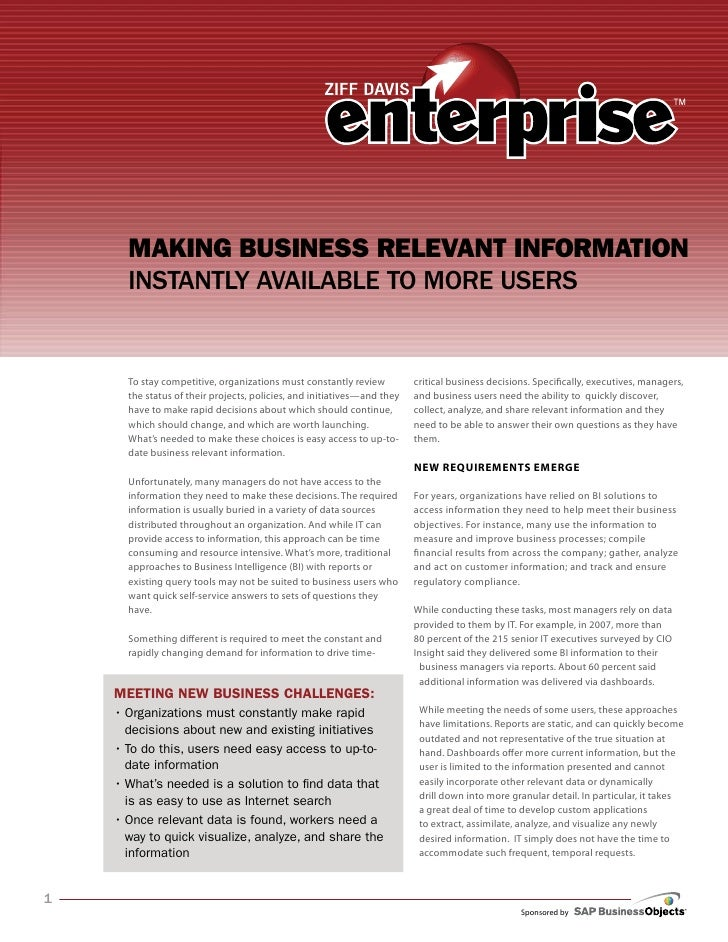 Making Business Relevant infoRMation       Instantly avaIlable to More Users         To stay competitive, organizations mu...