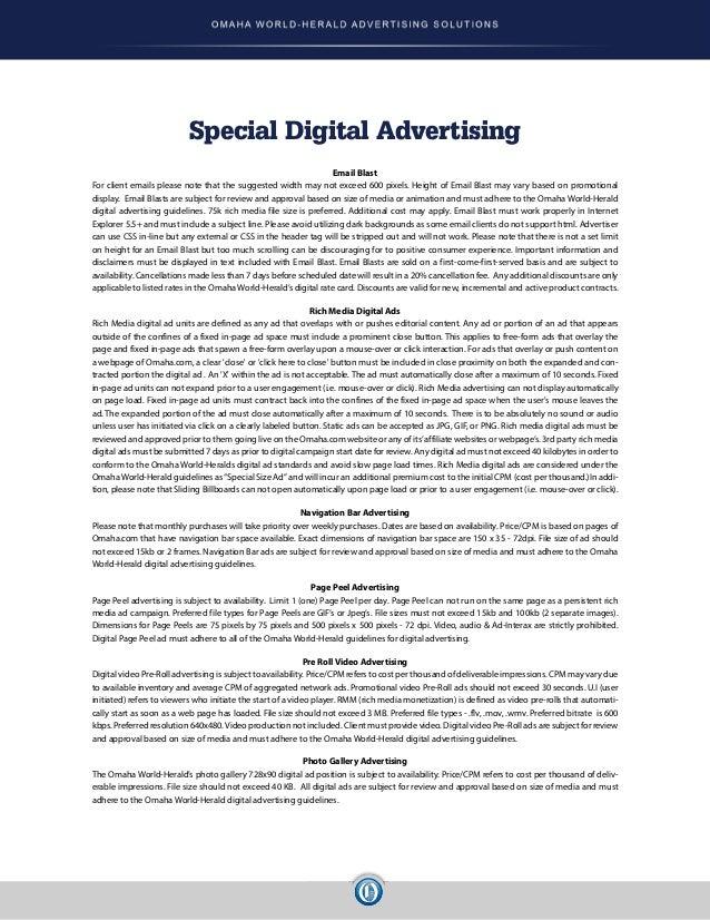 Digital Advertising Rate Card January 2015