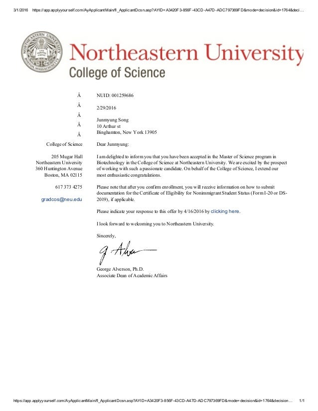 Acceptance Letter Of Northeastern University. 3/1/2016  Https://app.applyyourself.com/AyApplicantMain  Acceptance Letter