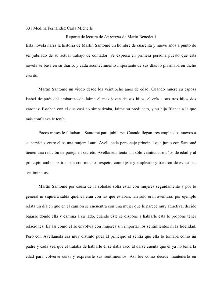 331 Medina Fernández Carla Michelle                          Reporte de lectura de La tregua de Mario BenedettiEsta novela...