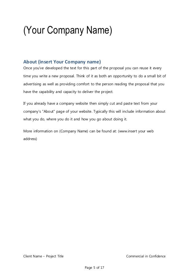 Business Proposal Template for Consulting Program Implementation – Commercial Proposal Format