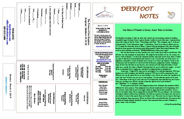 March 3, 2019 GreetersMarch3,2019 IMPACTGROUP1 DEERFOOTDEERFOOTDEERFOOTDEERFOOT NOTESNOTESNOTESNOTES WELCOME TO THE DEERFO...