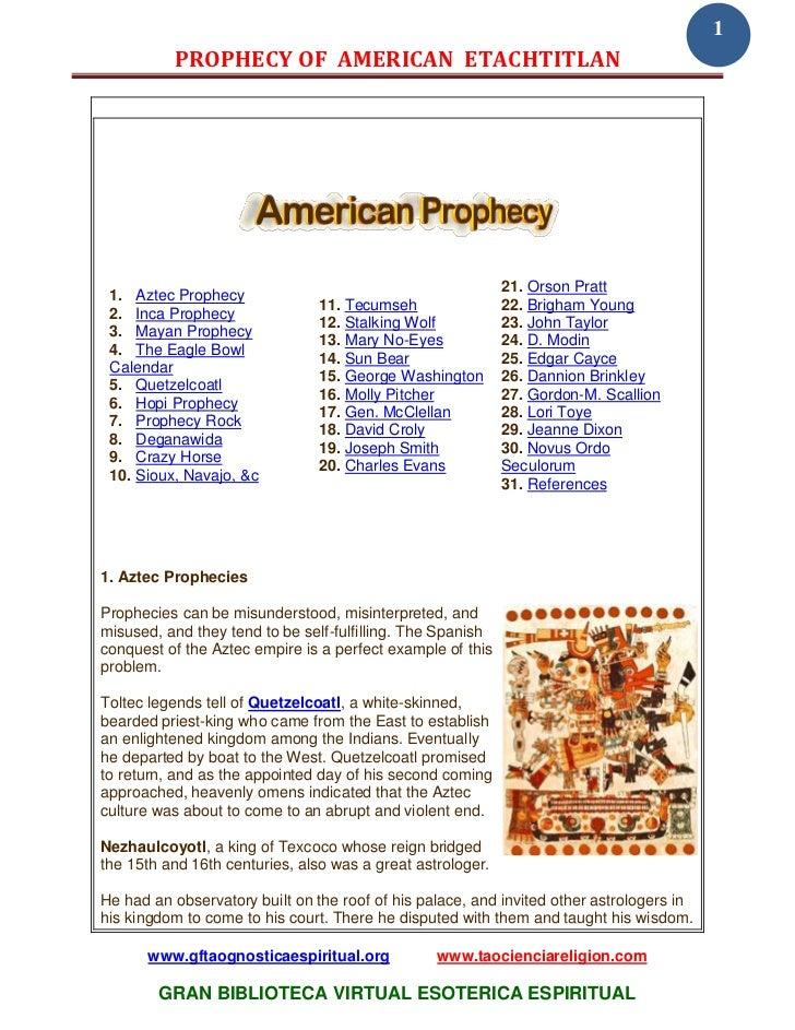1          PROPHECY OF AMERICAN ETACHTITLAN                                                            21. Orson Pratt 1. ...