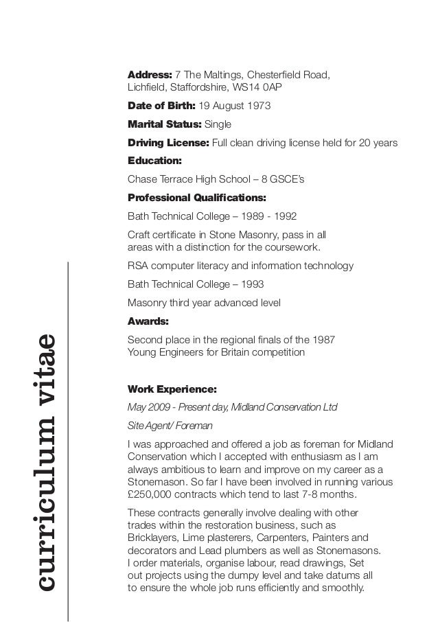 qualifications on a cv