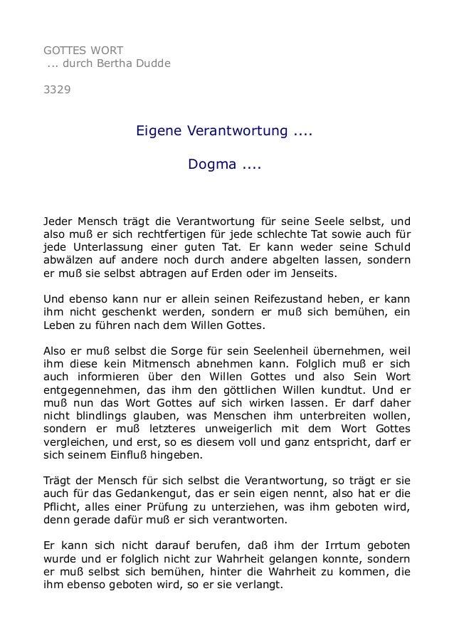 GOTTES WORT ... durch Bertha Dudde 3329 Eigene Verantwortung .... Dogma .... Jeder Mensch trägt die Verantwortung für sein...
