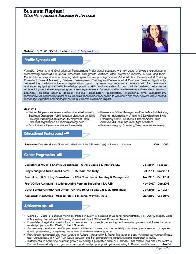 Page 1 of 3 Susanna Raphael Office Management & Marketing Professional Mobile: + 971561035326 E-mail: suz0711@gmail.com St...
