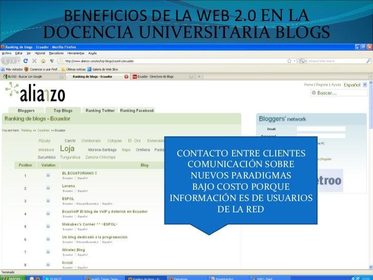 BENEFICIOS DE LA WEB 2.0  EN LA DOCENCIA UNIVERSITARIA BLOGS CONTACTO ENTRE CLIENTES COMUNICACIÓN SOBRE NUEVOS PARADIGMAS ...