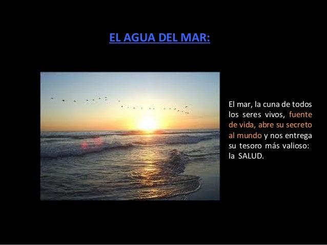 EL AGUA DEL MAR:                   El mar, la cuna de todos                   los seres vivos, fuente                   de...