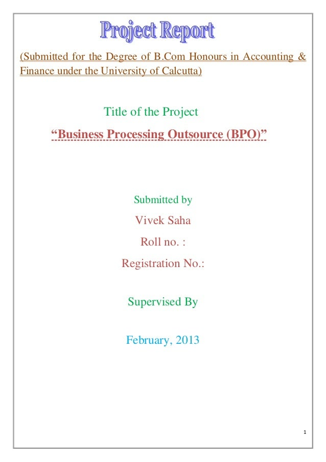 (Submitted for the Degree of B.Com Honours in Accounting &Finance under the University of Calcutta)                Title o...