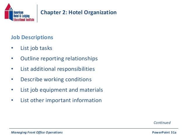 33 Chapter 2 Hotel Organization O List Job