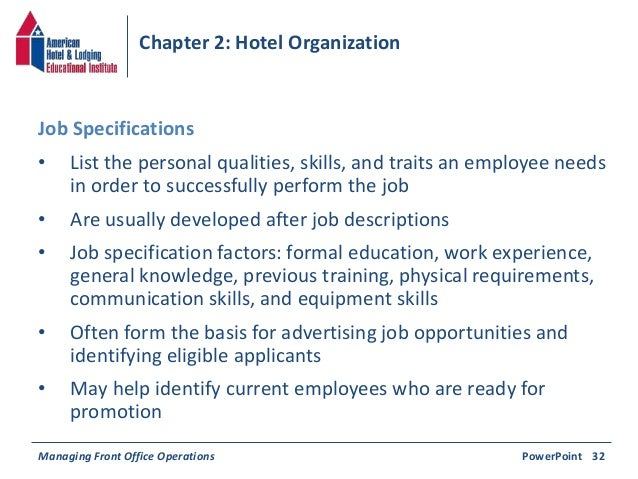 Operations PowerPoint 31b 35 Chapter 2 Hotel Organization O List