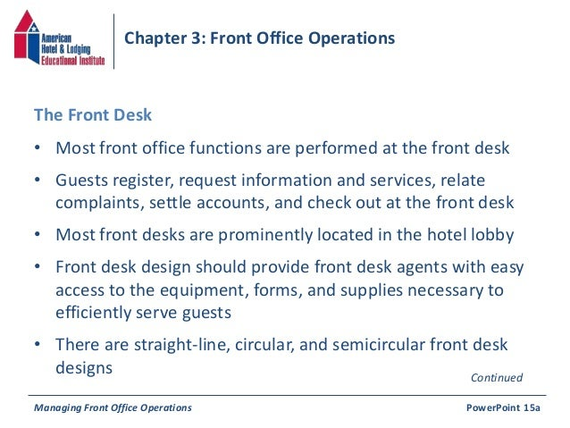 front office or guest service operations