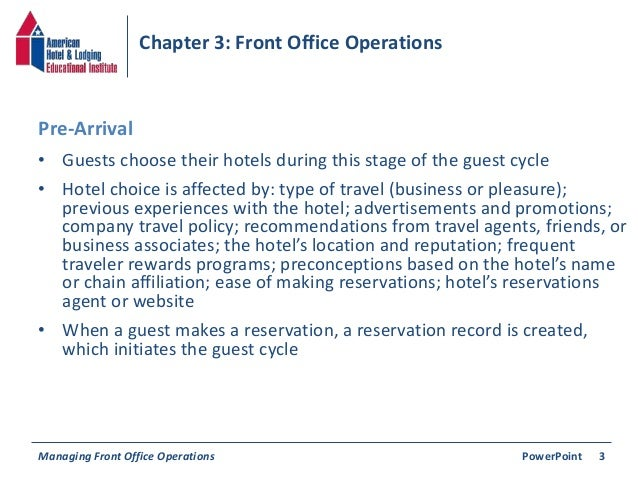 Chapter 3: Front Office Operations Slide 3