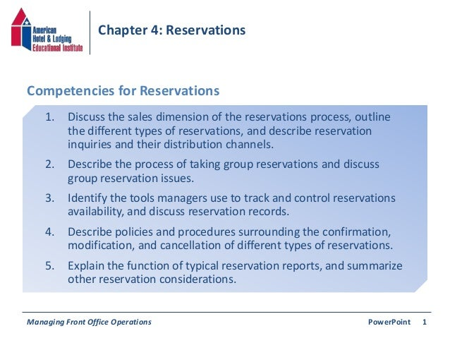 Chapter 4: Reservations