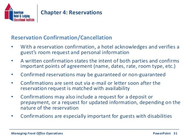 Operations PowerPoint 30b 36 Chapter 4 Reservations O With A Reservation Confirmation Hotel