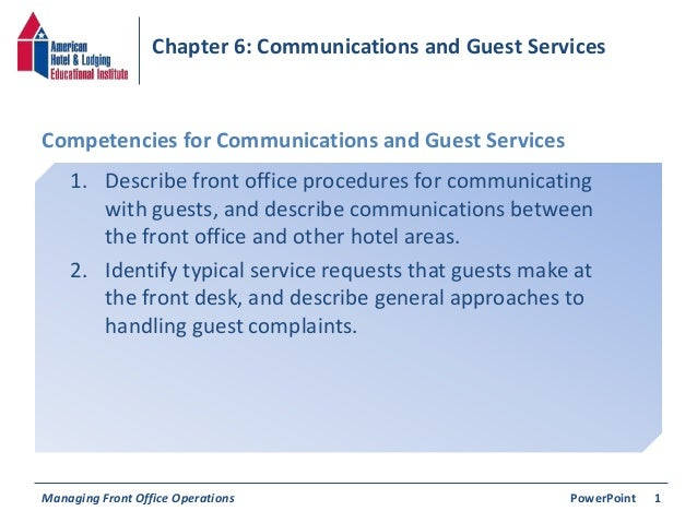 Chapter 6: Communications & Guest Services