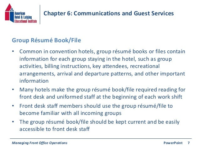 chapter 6 communications guest services
