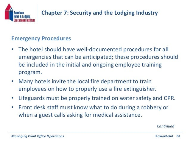 Chapter 7: Security & the Lodging Industry