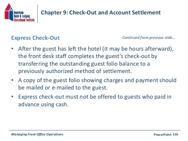 Chapter 9 Check Out Amp Account Settlement