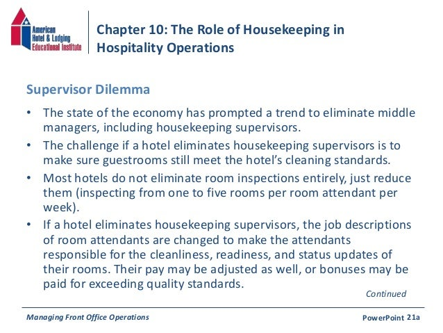 Chapter 10: The Role of Housekeeping in Hospitality Operations