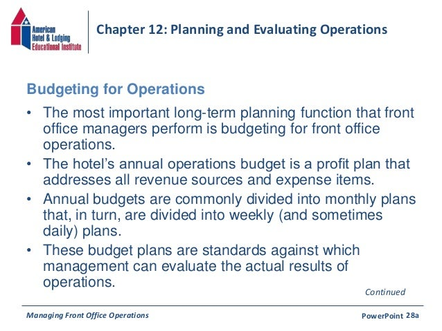 Chapter 12: Planning And Evaluating Operations