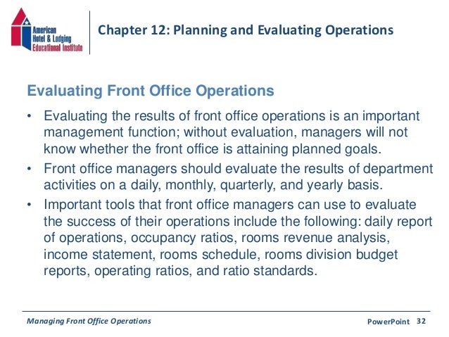 planning and evaluation front office operations Managing front office operations provides an in-depth look at management of  the front  this 14-chapter book presents a systematic approach to front office.