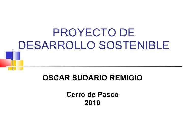 PROYECTO DE DESARROLLO SOSTENIBLE OSCAR SUDARIO REMIGIO Cerro de Pasco 2010
