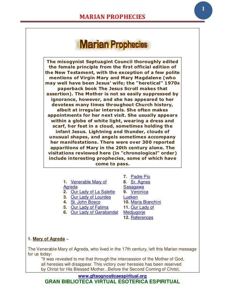1                          MARIAN PROPHECIES         The misogynist Septuagint Council thoroughly edited          the fema...