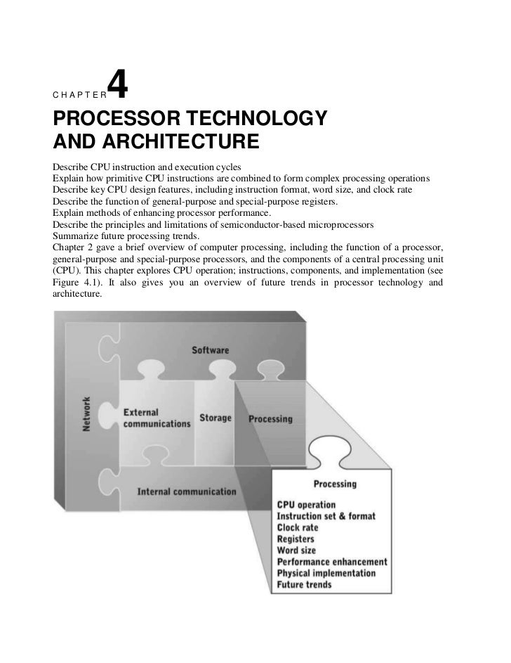 CHAPTER      4PROCESSOR TECHNOLOGYAND ARCHITECTUREDescribe CPU instruction and execution cyclesExplain how primitive CPU i...