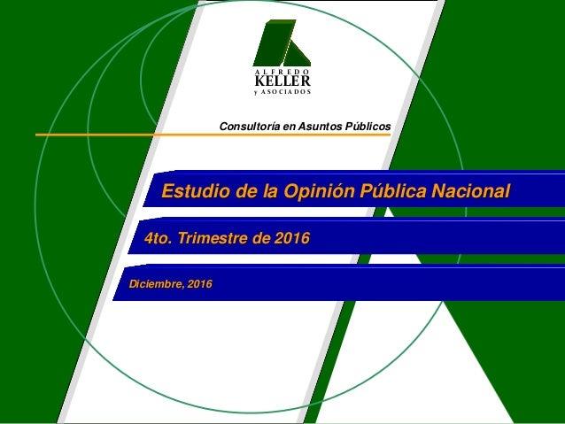 A L F R E D O KELLER y A S O C I A D O S Consultoría en Asuntos Públicos Estudio de la Opinión Pública Nacional 4to. Trime...