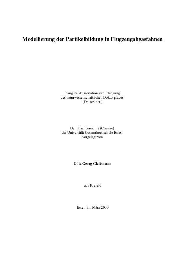 Modellierung der Partikelbildung in Flugzeugabgasfahnen Inaugural-Dissertation zur Erlangung des naturwissenschaftlichen D...