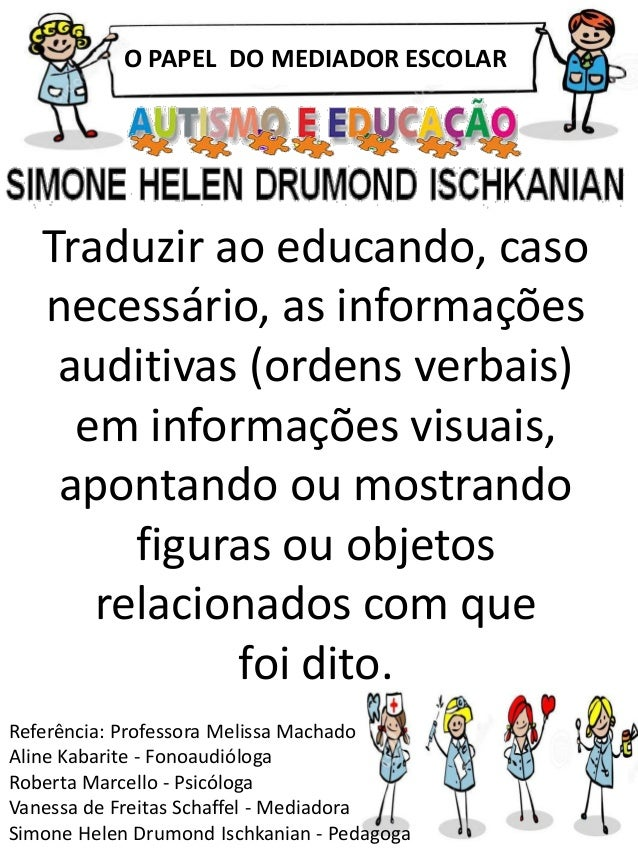 O PAPEL DO MEDIADOR ESCOLAR Referência: Professora Melissa Machado Aline Kabarite - Fonoaudióloga Roberta Marcello - Psicó...