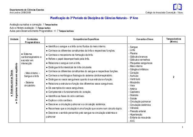 Departamento de Ciências Exactas Ano Lectivo 2008/2009 Colégio da Imaculada Conceição - Viseu 1 3 Planificação do 3º Perío...