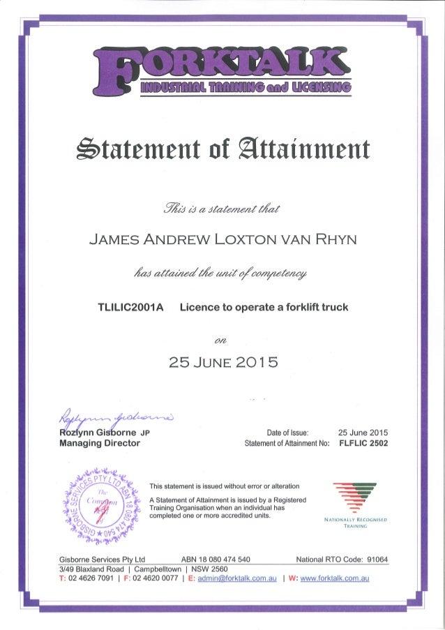 Forktalk Statement Of Attainment Forklift Certificate