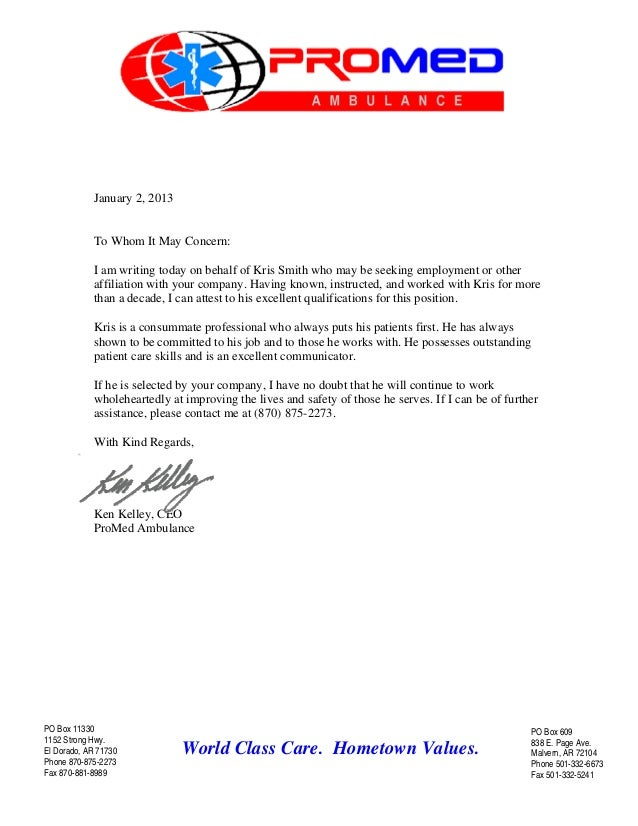 letter of recommendation for paramedic - Ozil.almanoof.co