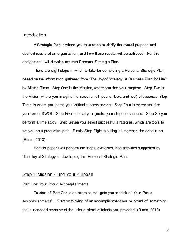Personal Strategy Chad J Czelusniak-Serviss Slide 3