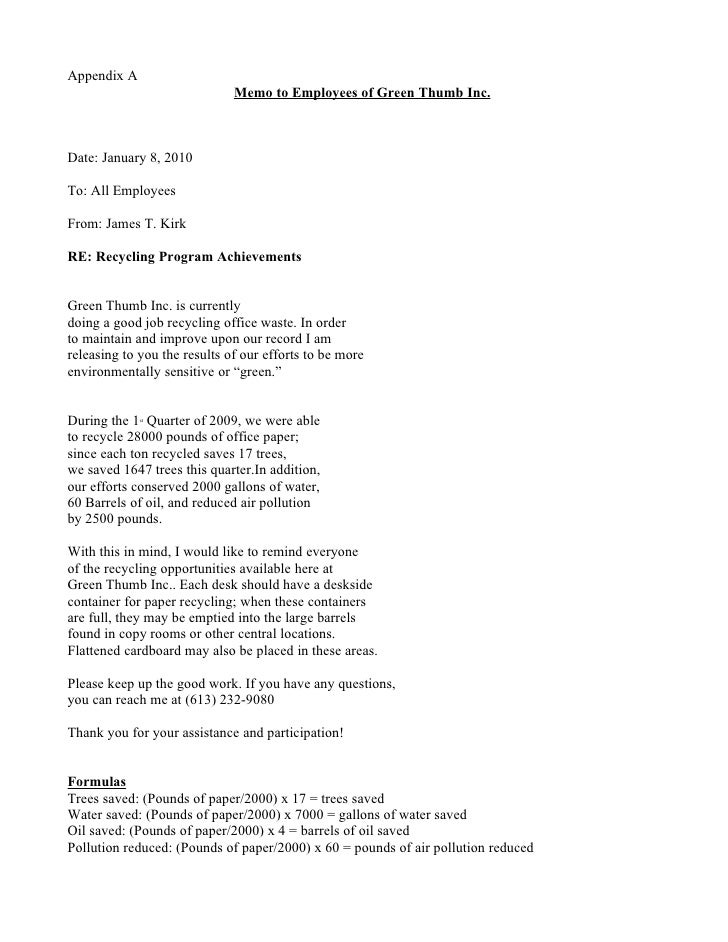 Appendix A                               Memo to Employees of Green Thumb Inc.    Date: January 8, 2010  To: All Employees...