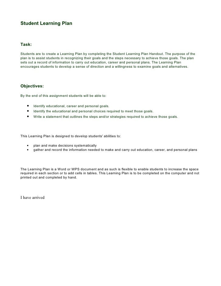 Student Learning Plan    Task:  Students are to create a Learning Plan by completing the Student Learning Plan Handout. Th...