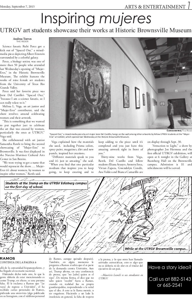 """Inspiring mujeres UTRGV art students showcase their works at Historic Brownsville Museum Andrea Torres THE RIDER """"Spaced O..."""