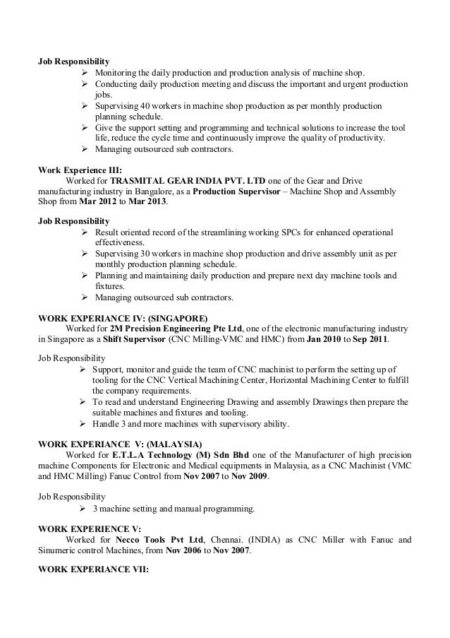 Fine Precision Engineering Resume Composition - Administrative ...
