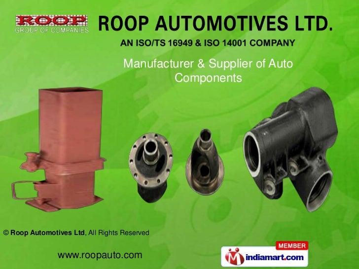Manufacturer & Supplier of Auto Components<br />
