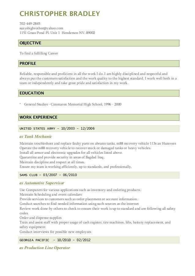 chris bradleys resume