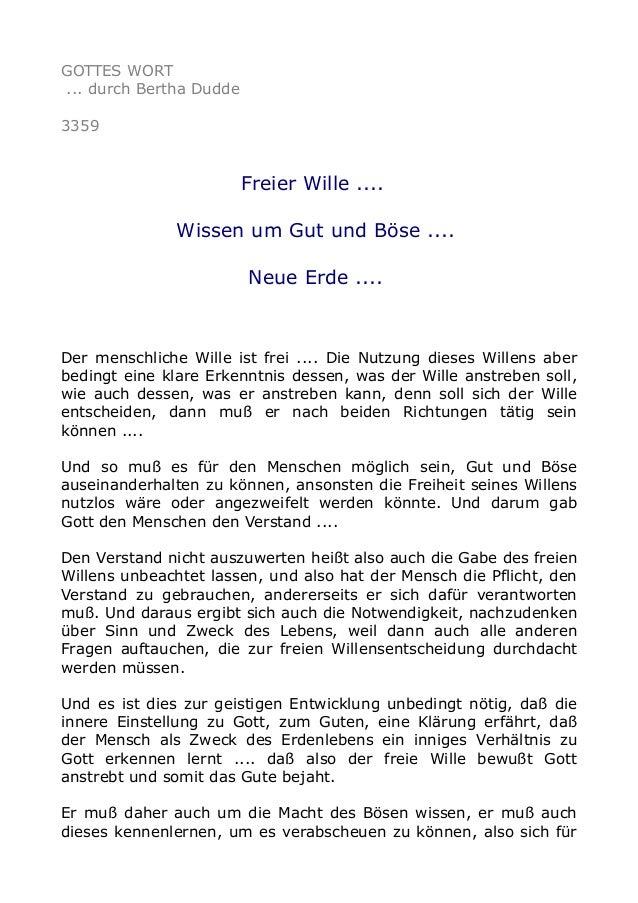 GOTTES WORT ... durch Bertha Dudde 3359 Freier Wille .... Wissen um Gut und Böse .... Neue Erde .... Der menschliche Wille...