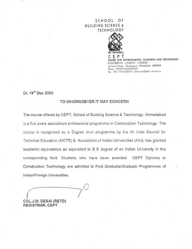 Cept Equivalency Letter