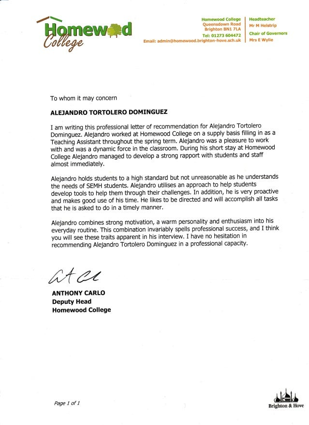 Reference Letter Mr Anthony Carlo Homewood College