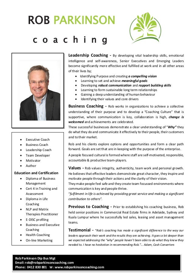Professional Profile - Rob Parkinson Leadership Coach Sept