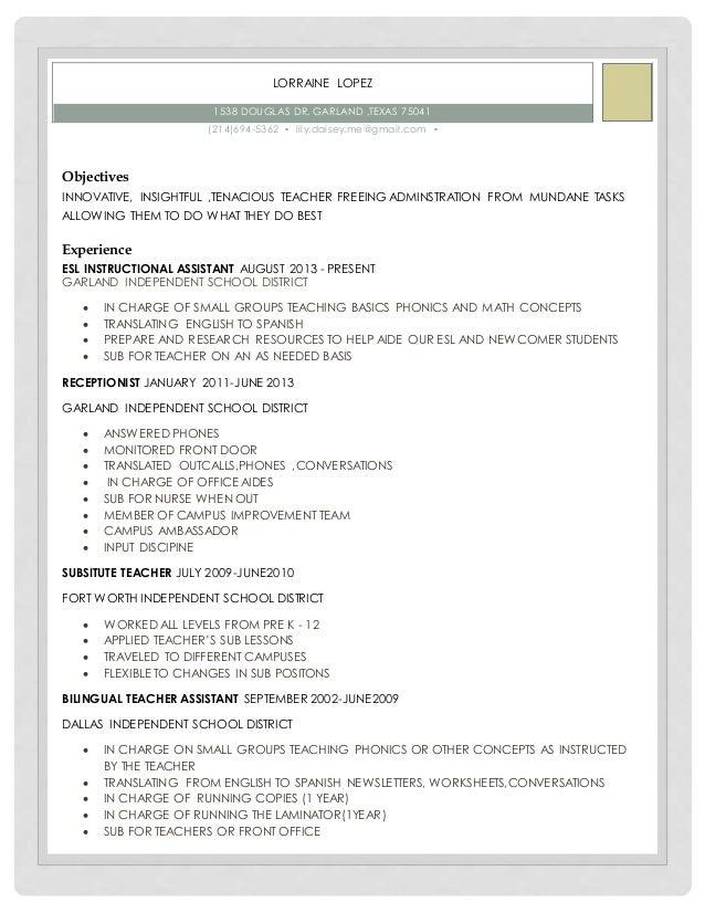 resume teacher lorraine lopez 1538 douglas dr garland texas 75041 214694 5362