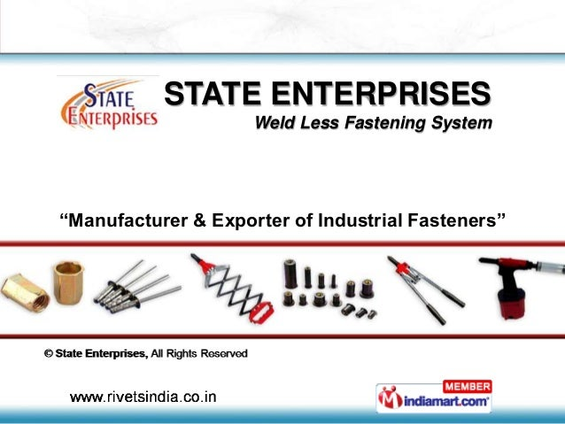 "STATE ENTERPRISES Weld Less Fastening System ""Manufacturer & Exporter of Industrial Fasteners"""