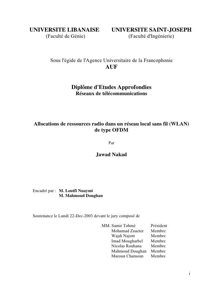 UNIVERSITE LIBANAISE                     UNIVERSITE SAINT-JOSEPH      (Faculté de Génie)                          (Faculté...