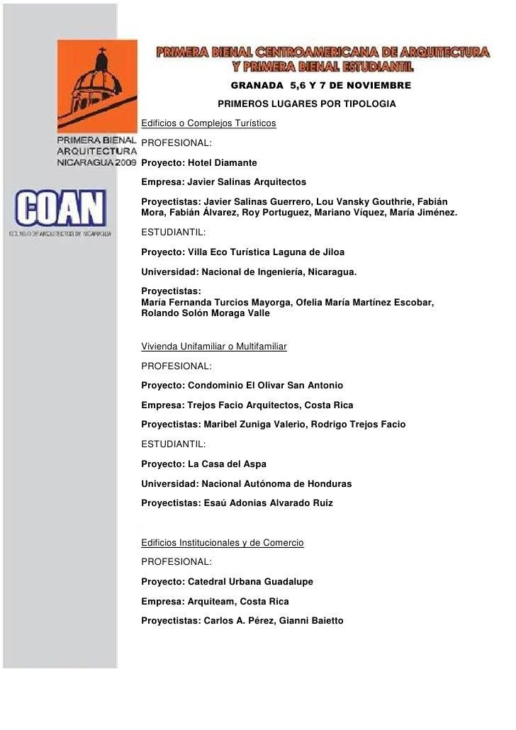GRANADA 5,6 Y 7 DE NOVIEMBRE                   PRIMEROS LUGARES 2009TIPOLOGIA                                DEL POR  Edif...